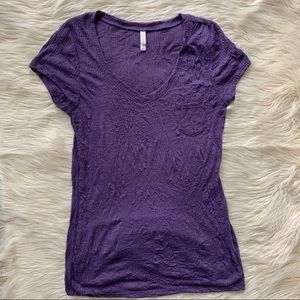 Xhilaration V-neck Crinkle Pocket Tee, Purple, XL